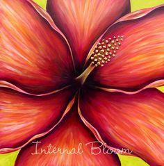 "Hibiscus 36"" x 36"" Acrylic/Mixed media www.internalbloom.com"