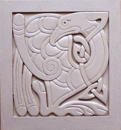Celtic knotwork bird carving