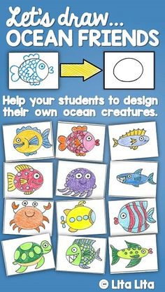 Draw Ocean Friends worksheet for Fast Finishers Ocean Activities, Drawing Activities, Kindergarten Art, Preschool Art, Drawing For Kids, Art For Kids, Ocean Projects, Art Projects, Ocean Drawing