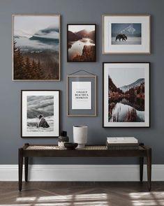 Gallery Wall Layout, Gallery Wall Frames, Gallery Walls, Stair Gallery, Art Gallery, Bedroom Wall, Bedroom Decor, Inspiration Wand, Woodland Nursery Decor