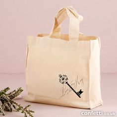 These Cotton Tote Bags have been personalised with a Monogram Key design. This design is perfect for any vintage inspired wedding. Available in two versatile sizes. Makes a great gift and gift bag all rolled into one.