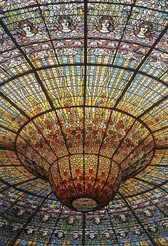 Stained glass ceiling, Palacio da Musica Catalana, Barcelona