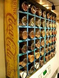 Perfect spice rack. Put magnet inside to stabilize the jars.