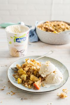 Apple crumble and vanilla ice cream is a classic combo. Try adding Alpro Vanilla Ice Cream to desserts for an easy plant-based twist – it's perfect with cakes, cookies, and waffles too! Dairy Free Recipes, Baking Recipes, My Favorite Food, Favorite Recipes, Delicious Desserts, Yummy Food, Fruit Crumble, Vegan Smoothies, Ice Cream Recipes