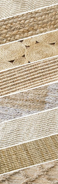 Jute, Sisal, and Seagrass! Look at that amazing texture! Visit Rugs USA for a large variety of options!