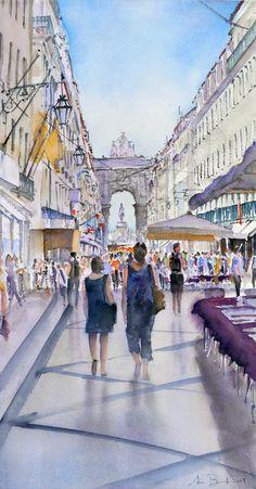 Portugal, Watercolor Landscape, Watercolor Art, Lisbon City, Wine Tourism, Flower Painting Canvas, Great Paintings, Tourist Places, Urban Sketchers