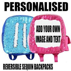 Personalised Kids Sequin Backpack Rucksack with your photo image back to school stationery personalized sequin bag backpack for children by funkytshirtsfactory on Etsy Back To School Stationery, Mom And Daughter Matching, Sequin Backpack, Christmas Stocking Fillers, Funny Socks, Photo Lighting, Rucksack Backpack, Your Photos, Children