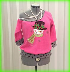 Womens Pink Sweater XL Extra Large Off Shoulder by CandyStickLane