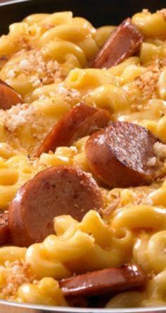 Skillet Mac & Cheese & Kielbasa - feeding the husband - Sausage Recipes Skillet Mac And Cheese, Mac Cheese, Mac And Cheese With Hotdogs Recipe, Sausage Mac And Cheese Recipe, Creamy Mac And Cheese, I Love Food, Good Food, Yummy Food, Tasty