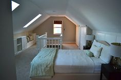 Stunning Attic bedroom loft,Attic room ideas and Diy attic remodel cost. Attic Master Bedroom, Attic Bedroom Designs, Attic Bedrooms, Upstairs Bedroom, Attic Design, Bedroom Loft, Bedroom Decor, Attic Bathroom, Bungalow Bedroom