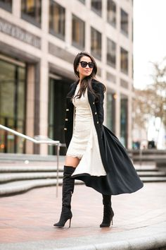 Street Style #blogger #outfit #warm #pretty #fashion #look # boots #dress #blackandwhite