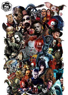 Horror Movies Icons Art by Bryanzap Horror Movies Funny, Classic Horror Movies, Iconic Movies, Scary Movies, Horror Movie Costumes, Horror Movie Tattoos, Arte Horror, Freddy Krueger, Michael Myers