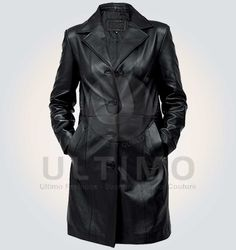 Trench Black Leather Coat    Coat Features   Outfit Type: Real Leather lining:Viscose Lining Colar:Shirt Collar Style Front: Buttoned Closure Pockets:Two Side Pocket Standard Quality:Premium Stitching Color: Black