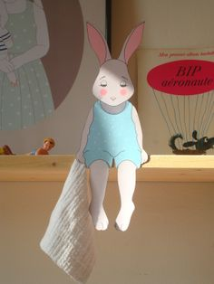 "FREE printable nursery bunny decoration | La p'tite Madeleine (just click on the orange ""le fishier pdf"")"