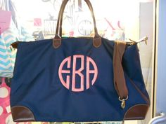 Champ Weekender  Bag Monogram Font Shown NATURAL CIRCLE on Etsy, $32.99