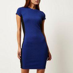 Bright blue textured bodycon dress