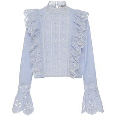 Sea Exploded Eyelet Ruffle Top (€230) ❤ liked on Polyvore featuring tops, blouses, shirts, stripe, shirt blouse, eyelet shirt blouse, ruffle top, frilly blouse and ruffled shirts blouses