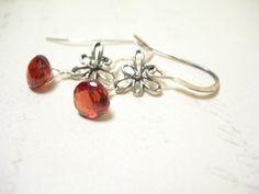 Garnet earrings pomegranate sterling silver by pamelasjewelry, $38.00