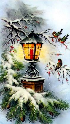 Ideas For Vintage Christmas Greetings Noel Christmas Lanterns, Christmas Scenes, Christmas Past, Christmas Greetings, Christmas Holidays, Christmas Crafts, Christmas Decorations, Christmas Ornaments, Xmas