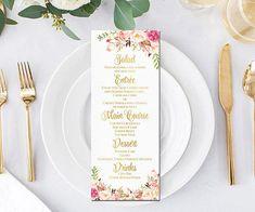 Floral Wedding menu cards boho dinner party menus pink peonies