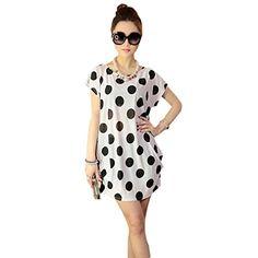 Shensee Women Cute Loose Print Mini Dress T Shirt Blouse One Size Style 6    8380de33122d