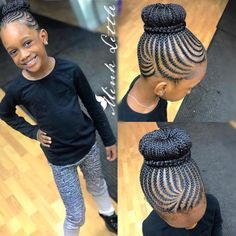Cute braided bun on babygirl by Cornrow Updo Hairstyles, Black Girl Braided Hairstyles, Lil Girl Hairstyles, Black Kids Hairstyles, Cornrows, Little Black Girls Braids, Black Girl Braids, Braids For Black Hair, Cornrow Styles For Girls