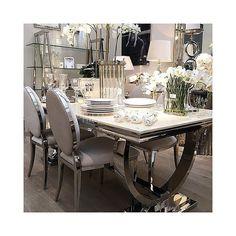 Stół do jadalni stal szklany nowoczesny styl glamour przeźroczysty biały czarny MARCELLO 1