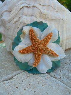 Starfish Floral Hair ClipSEA FOAMBeach by sandnsurfcreations, $12.95