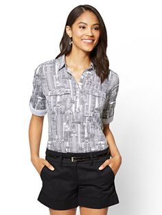 Shop 7th Avenue - Madison Stretch Shirt - Popover - City Print. Find your perfect size online at the best price at New York & Company.