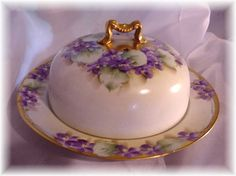 Featuring this Wonderful Late 1800s to early 1900s Limoges France 2 piece steamer warmer or cheese dish in an attractive pattern. Fine Quality porcelain with hand painted purple violets,, fancy rich gold border and gold gilt handle, Beautifully decorated and an Excellent item in Excellent condition. | eBay!