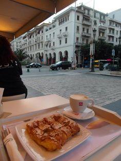 """Bougatsa and cappuccino at sunrise off Aristotelous Square in Thessaloniki Greece ! Thessaloniki, Macedonia, Cheesesteak, Greece, Ethnic Recipes, Food, Nymph, Sunrise, Twitter"