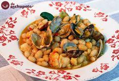 Fabes con bacalao y almejas http://www.recetasderechupete.com/fabes-con-bacalao-y-almejas/11743/ #fabes #derechupete