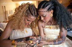 Tumblr Wow I love their hair. Ethiopian wedding maybe?