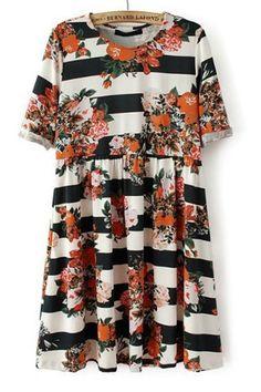 Striped Floral Short Sleeve Dress - OASAP.com