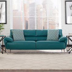 Carlo Top Grain Leather Sofa   Turquoise