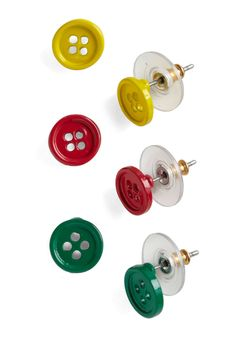 Clothes to Heart Earring Set - This set reflects the artist's use of actual buttons in her piece. Also, the colors of the buttons are those seen in the work. #modcloth #skau