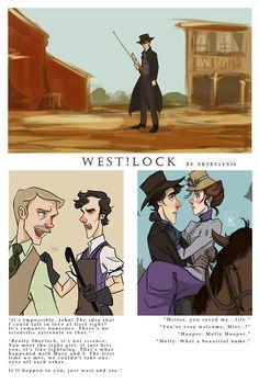 lock: Sherlock as a western (open in new tab for hi-res) Sherlock: the blacksmith/scientist - John: the town Doctor - Lestrade: the Sheriff - Mrs. Hudson-landlady, not your housekeeper-Mycroft: Rich guy - I love the Back to the Future reference! Sherlock Holmes, Sherlock Fandom, Moriarty, Sherlock Humor, Au Ideas, Mrs Hudson, Sherlolly, 221b Baker Street, Back To The Future