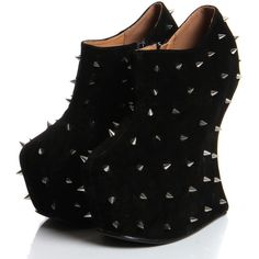 Pheonix Black Spiked Suedette Wedge Shoe Boot ($90) ❤ liked on Polyvore