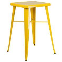 Flash furniture 24 square yellow metal indoor outdoor bar height