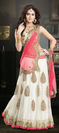 151564, Bollywood Lehenga, Net, Sequence, Resham, Floral, Stone, Patch, Lace, White and Off White Color Family