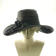 Kentucky Derby Hat For Women - Handmade Wide Brim Straw Hat - Black & Purple Flowers. $275.00, via Etsy.