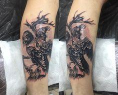 Raven Tattoo, Tattoo Photos, Black And Grey, Tattoos, Style, Swag, Tatuajes, Tattoo, Tattos