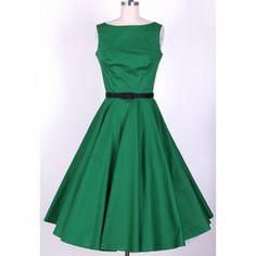 Vintage Scoop Neck Pleated Sleeveless Green Dress For Women, GREEN, S in Vintage Dresses | DressLily.com