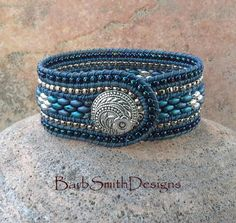 Blue Leather Cuff Bracelet 3-Row Denim by BarbSmithDesigns on Etsy