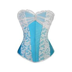 Atomic Clear Blue Sky Rhinestone Brooch Overbust Corset (160 BRL) ❤ liked on Polyvore featuring corsets