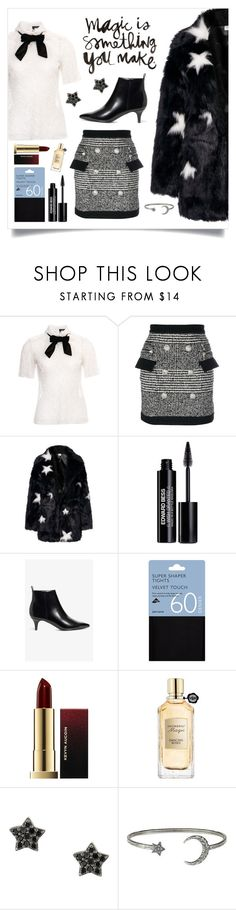 """""""Magic is Something You Make"""" by curlyelizabeth ❤ liked on Polyvore featuring The Kooples, Balmain, Edward Bess, Monki, John Lewis, Kevyn Aucoin, Viktor & Rolf and Astley Clarke"""