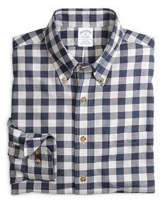 Non-Iron Slim Fit Gingham Sport Shirt Navy