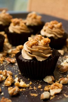 Chocolate Cupcakes with espresso buttercream and caramelized nuts