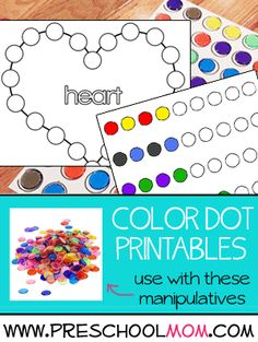Preschool Printables that coordinate with manipulatives. And I'm thinking dot markers too! Preschool Printables, Preschool Ideas, Preschool Crafts, Teaching Ideas, School Tool, Pre School, Projects For Kids, Craft Projects, Daycare Ideas