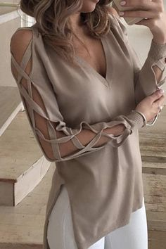 Cupshe At First Glance Cross High Low Sweater